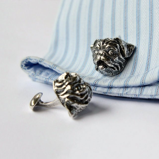 Pug Dog Cufflinks by Moon Raven Designs