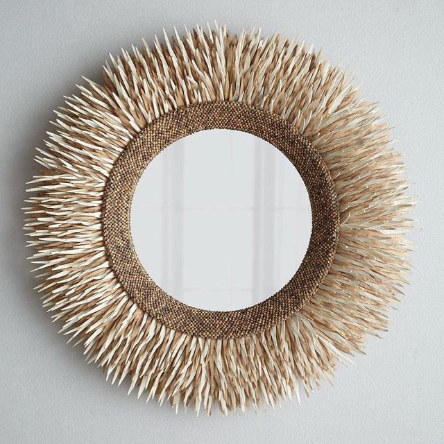 Round Coconut Shell Mirror