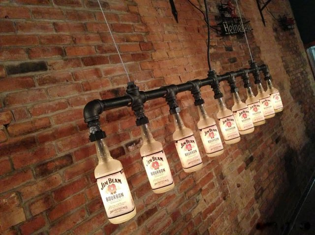 Iron Pipe Bottle Lamp Industrial Chandelier