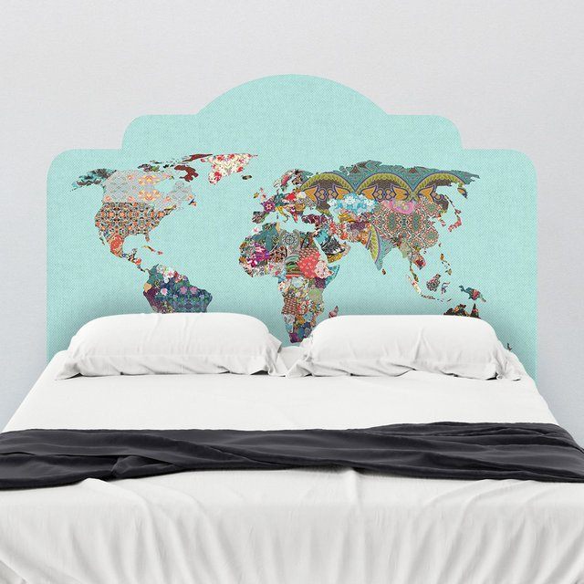 Louis Armstrong World Map Headboard Wall Decal