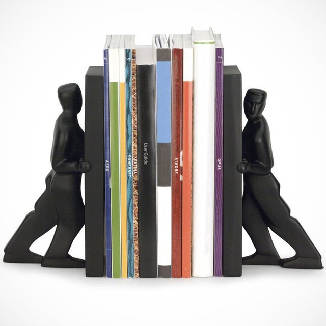 Man Pushing Bookends