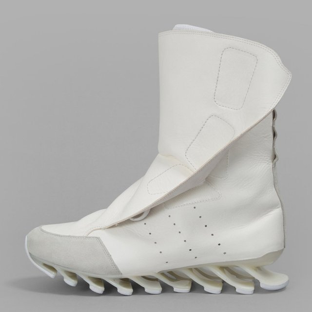 Rick Owens x Adidas White Spring Blade High Sneakers