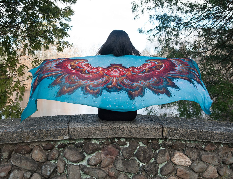 Bohemian Fractal Art Wing Span Scarf