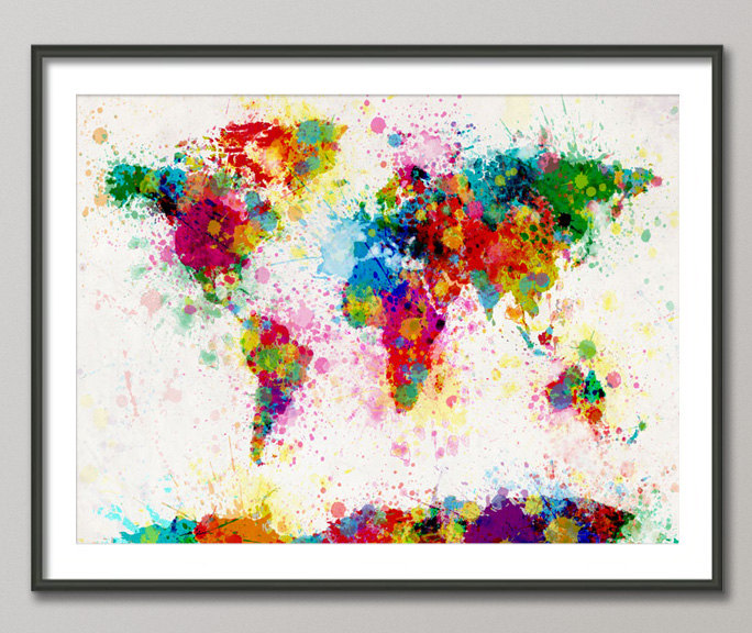 Paint Splatter World Map by Michael Tompsett