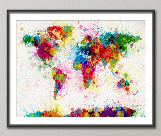 Paint Splatter World Map by Michael Tompsett