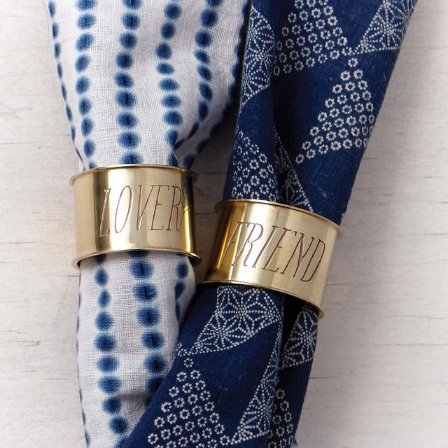 Etched Brass Napkin Rings