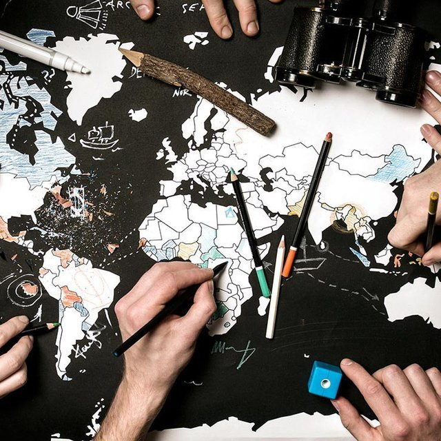Color Your Travels World Map Poster
