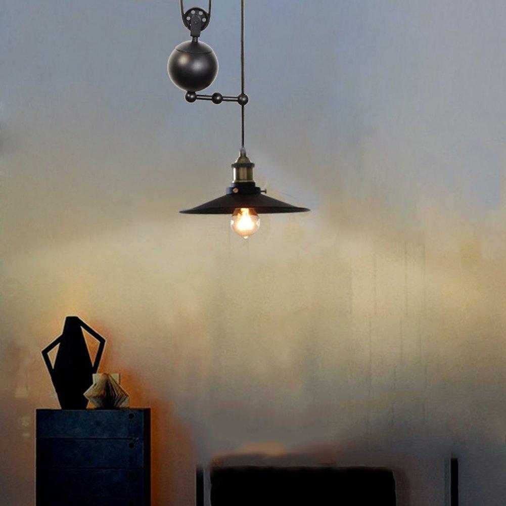 Fuloon Edison Vintage Loft Industrial Pulley Pendant Lights