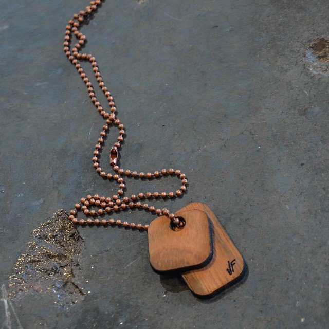 Wooden Tag Necklace by Johnny Fly