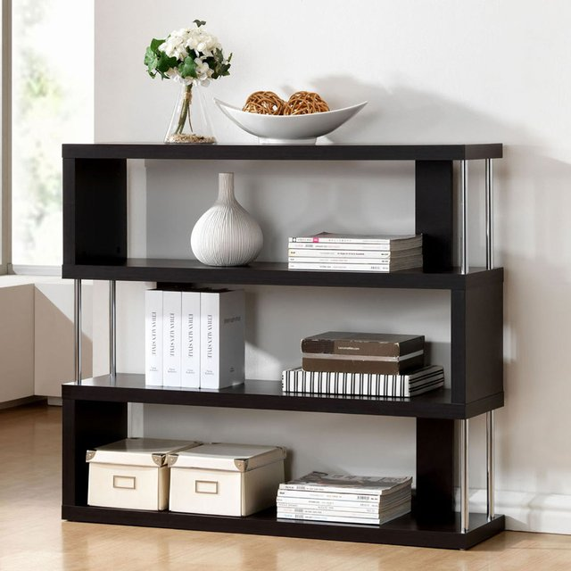 Barnes Dark Brown Three-Shelf Modern Bookcase