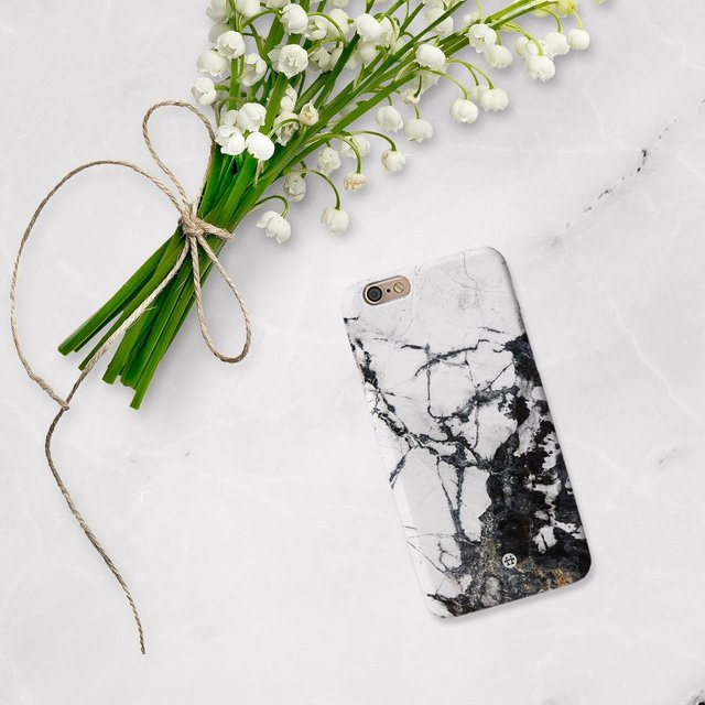 Black and White Marble Phone Case by Madotta