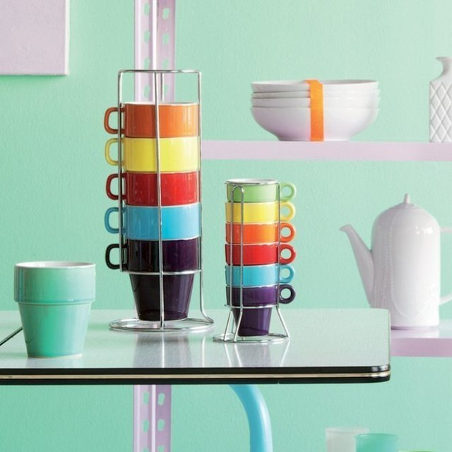 Rainbow Ceramic Cappuccino-Cup Tower Set