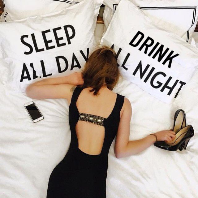 Sleep All Day, Drink All Night Pillowcase Set