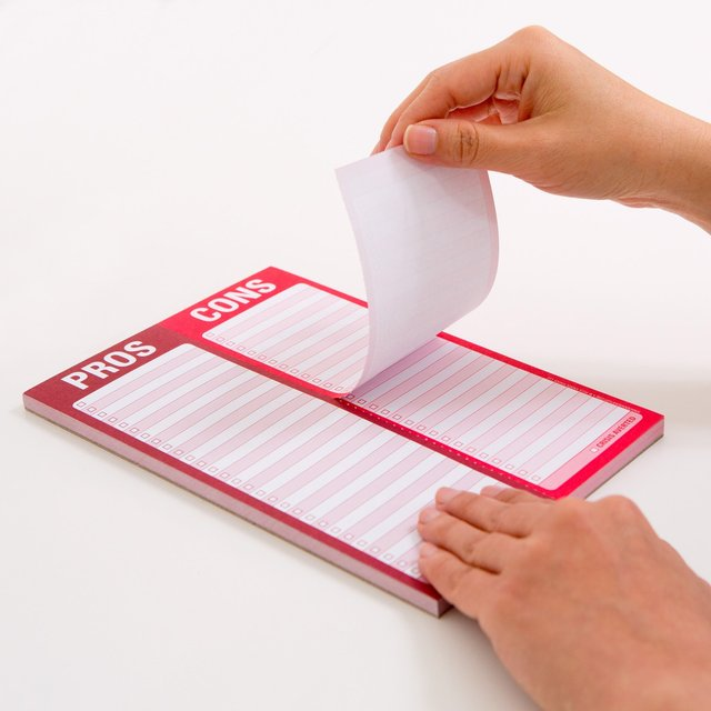 Pros & Cons Perforated Notepad