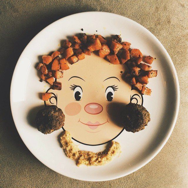 Girls Food Face Plate