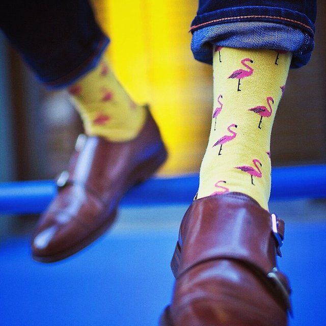 Yellow Flamingo Socks