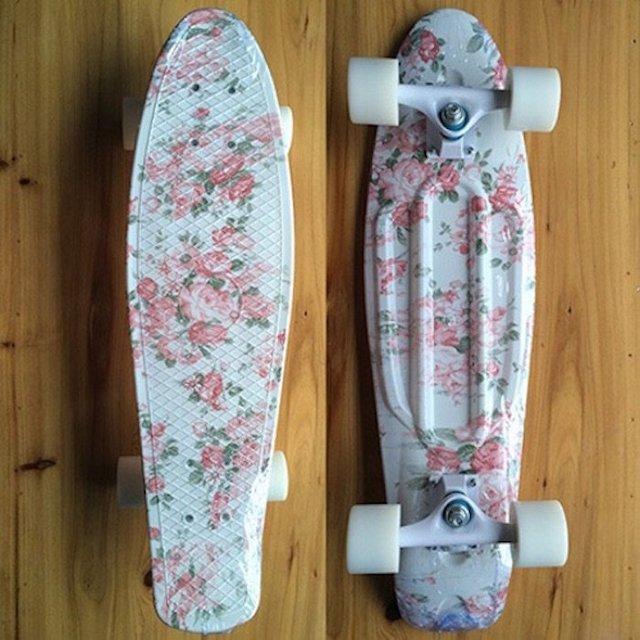 Pink Floral Mini Cruiser Skateboard