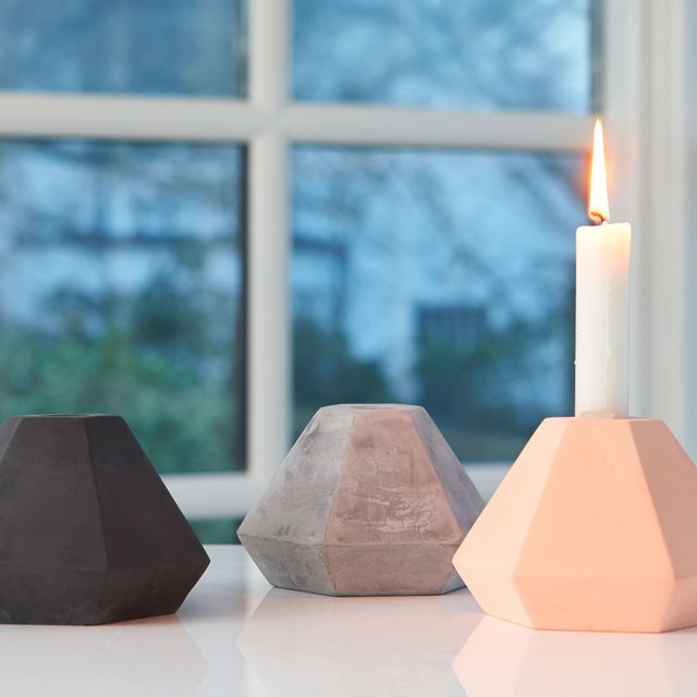 Diamond Concrete Candleholder