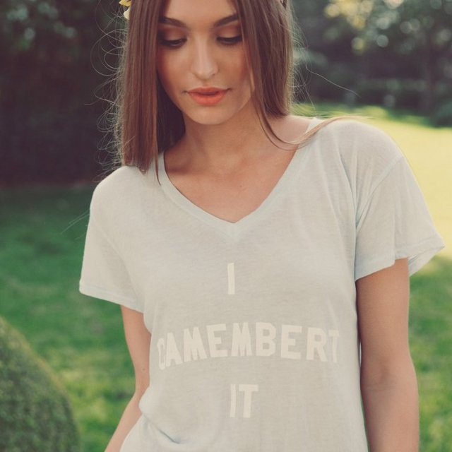 I Camembert It Easy V Neck Tee by Wildfox Couture