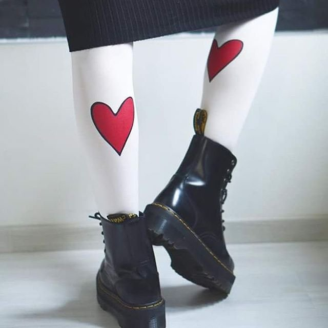Crazy in Love Printed Heart Tights