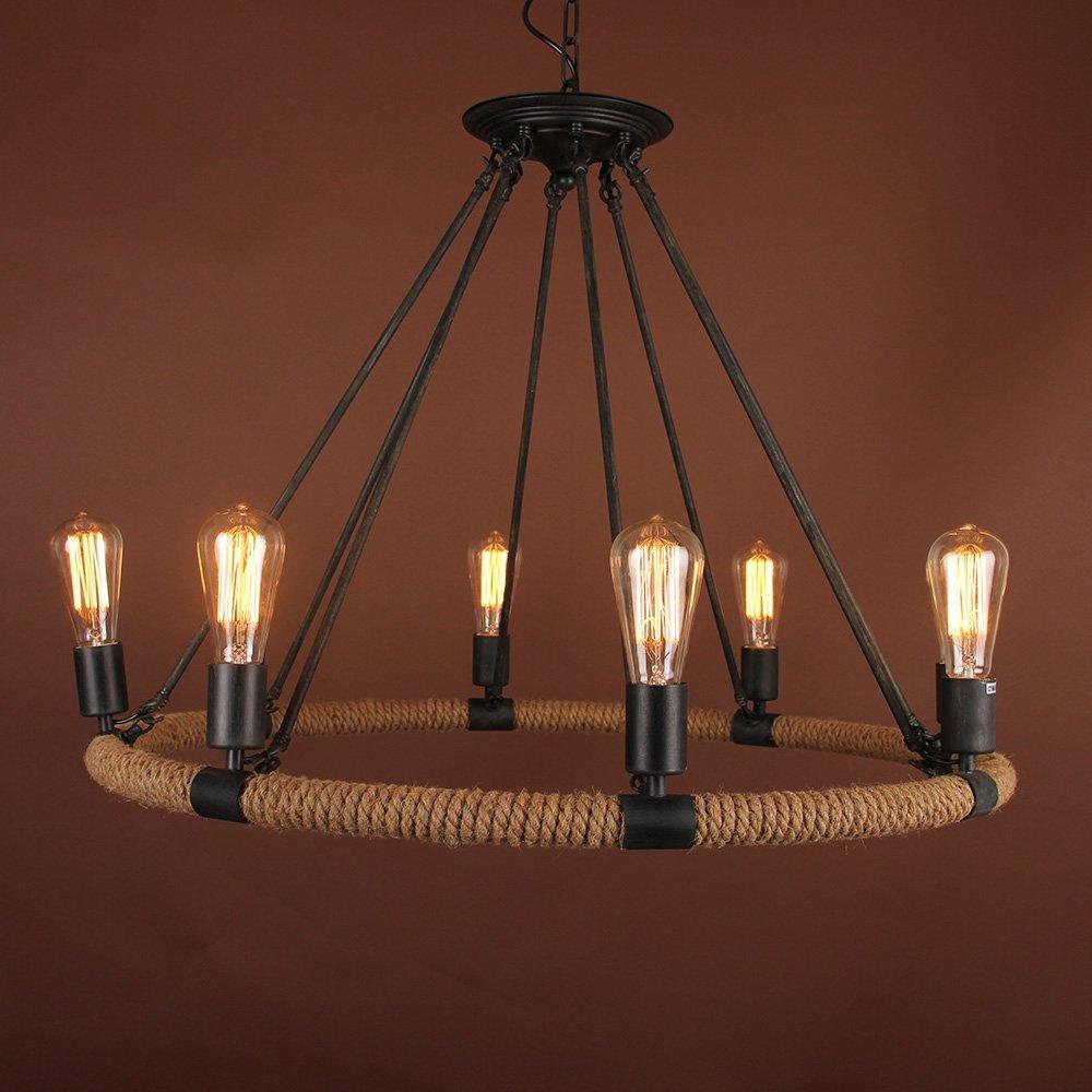 Home Built Metal Hemp Rope Lamp