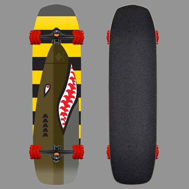 The Bomber Square Wheeled Skateboard by Shark Wheel