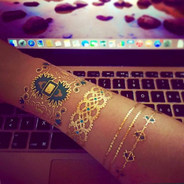 Gold and Silver Temporary Tattoo Set