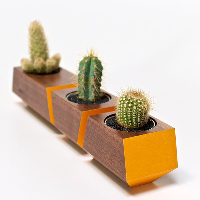 Walnut/Orange Boxcar Planters
