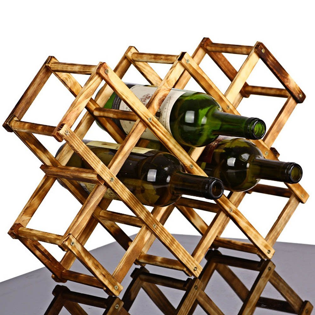 Foldable 10 Bottle Wooden Wine Rack Organizer Display Shelf