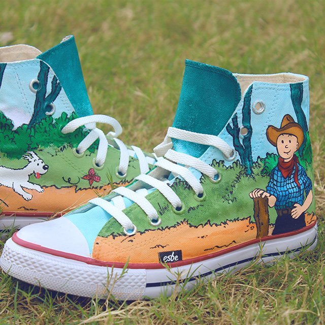 Hand Painted TinTin Converse