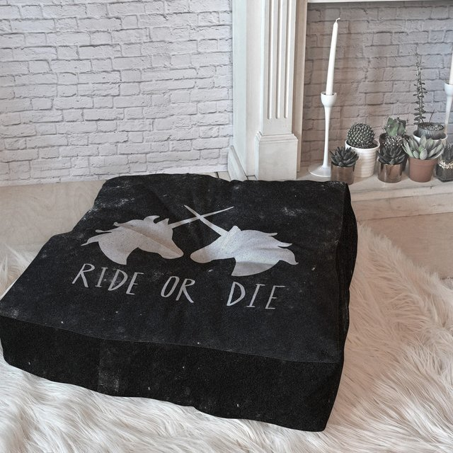 Ride or Die Unicorns Floor Pillow