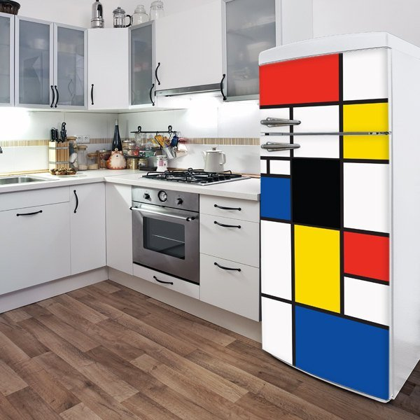 Pop Mondrian Fridge Door Decal