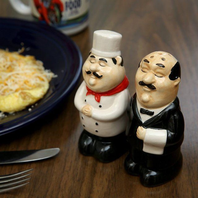 Chef and Waiter Salt & Pepper Shakers