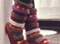 Maroon Hand Knit Wool Long Tibetan Socks