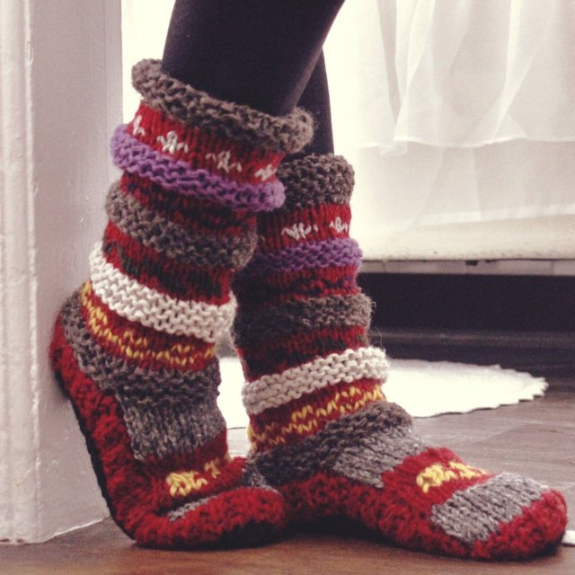 Maroon Hand Knit Wool Long Tibetan Socks