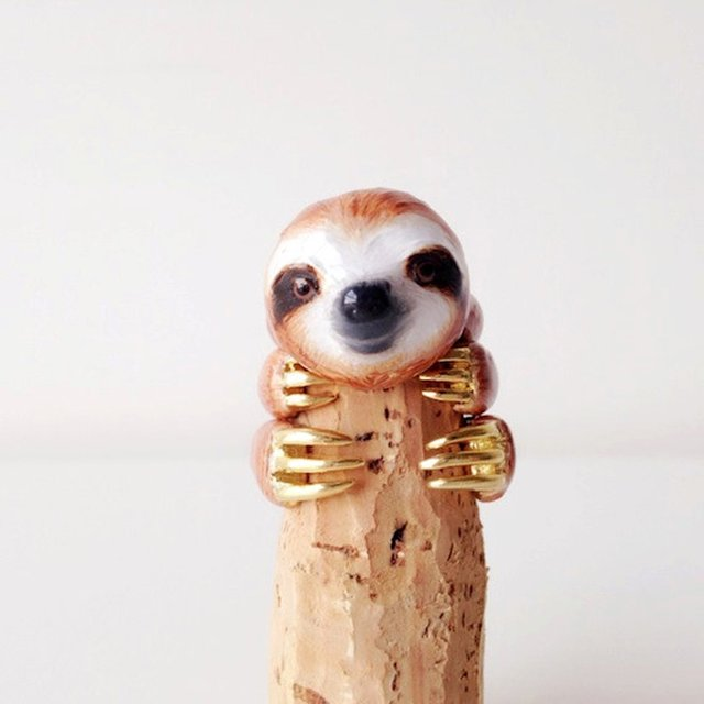 Orange Sloth 3 Piece Ring Set