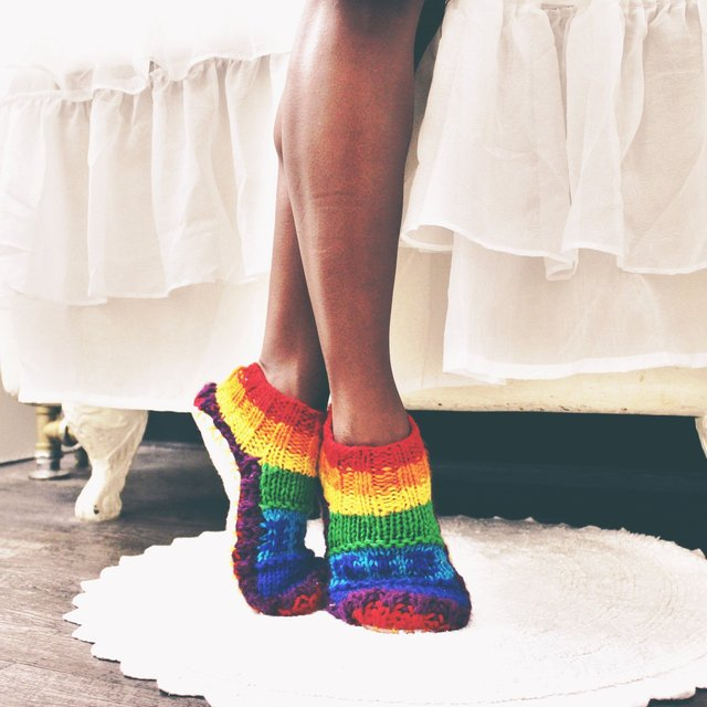 Rainbow Hand Knit Wool Ankle Slipper Socks by Tibetan Socks