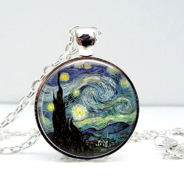 Starry Night Dome Pendant Necklace