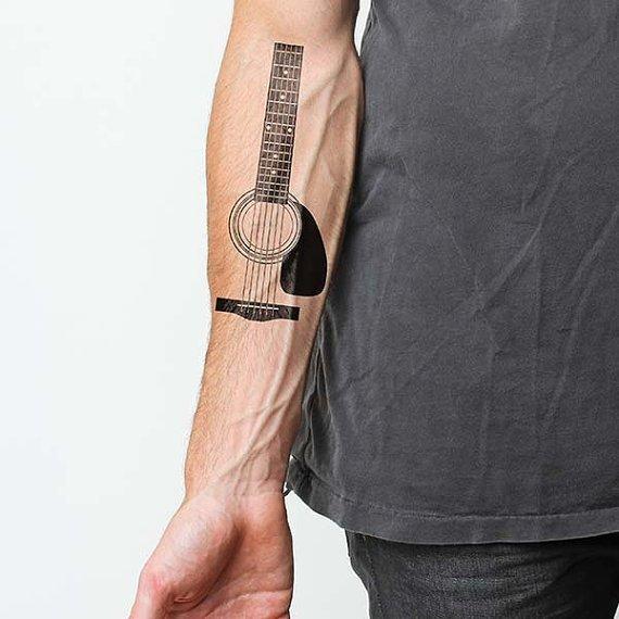 Acoustic Guitar Temporary Tattoo Set