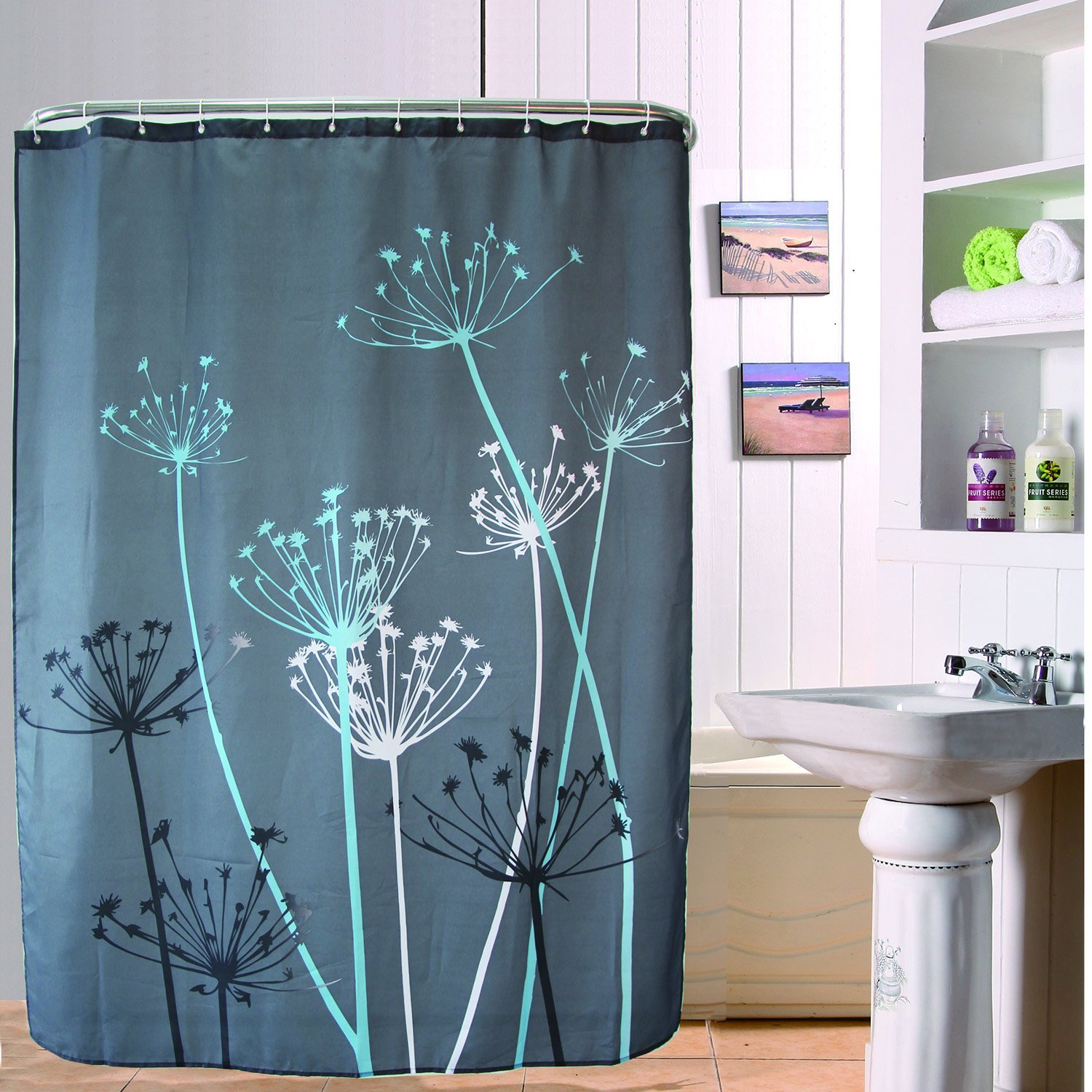IntriDesign Thistle Fabric Shower Curtain