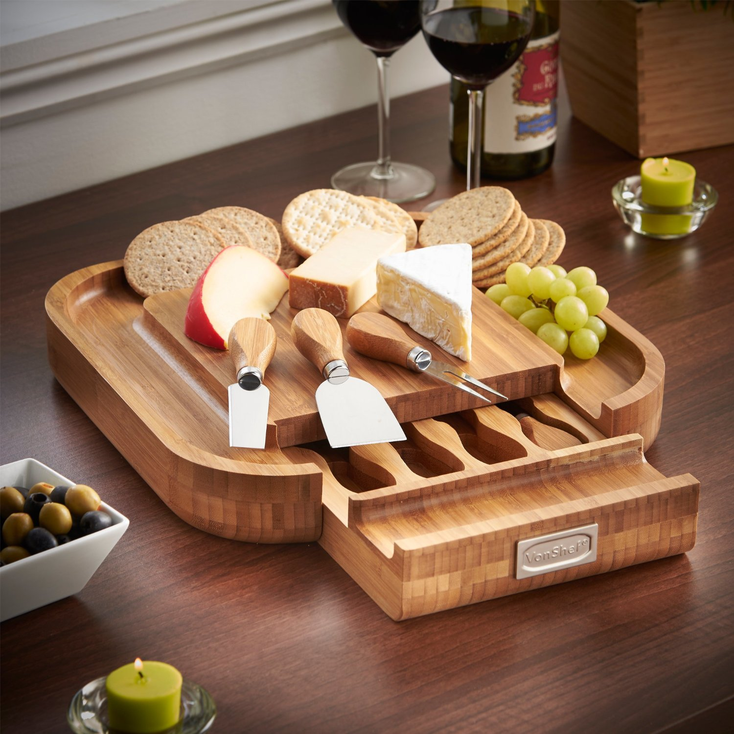 Wood Cheese Board 4-Piece Set