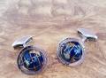 Globe Cage Cufflinks in Silver with Semi Precious Stone