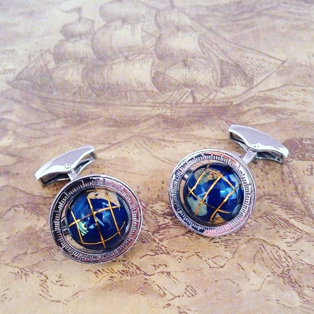Globe Cage Cufflinks in Silver with Semi Precious Stone
