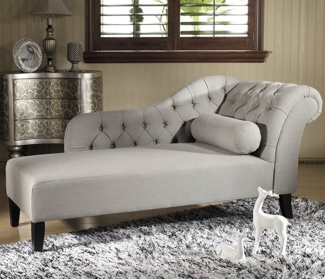 Aphrodite Tufted Putty Gray Linen Chaise