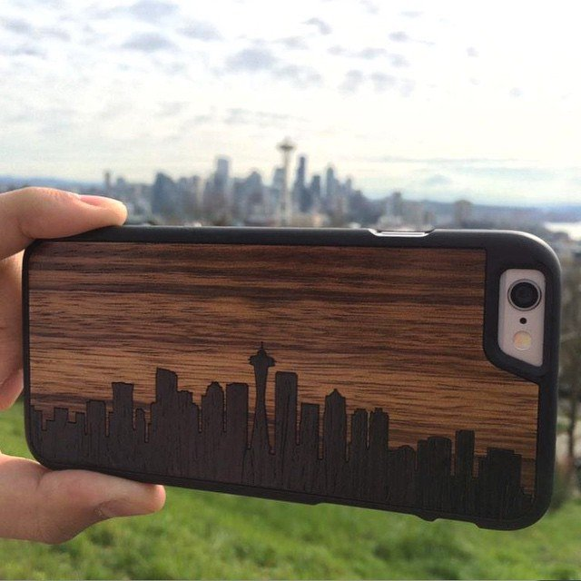 Seattle Skyline Inlay iPhone 6 Wood Slim Matte Black Case