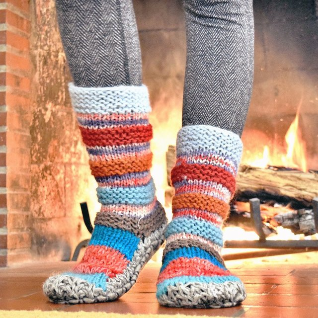 Blue Hand Knit Wool Long Slipper Socks by Tibetan Socks