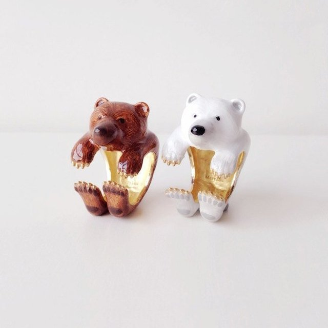 Bear Adjustable Enamel Ring