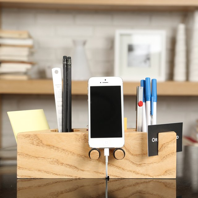Ash Wood Desk Organizer with Smartphone Stand