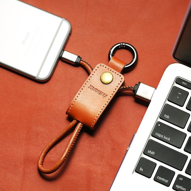 Leather Keychain Lightning Cable