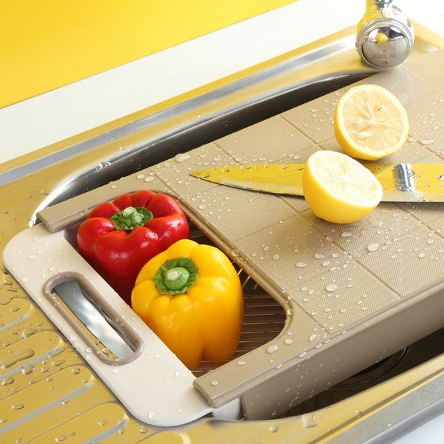 Retractable Chopping Board & Colander
